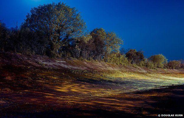 Byfleet Banking, Brooklands Race Track at night