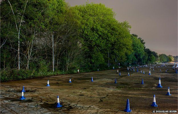 The Railway Straight, Brooklands Race Track at night.