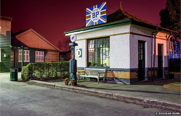 The BP Petrol Pagoda at Brooklands Museum, Brooklands Race Track at night.