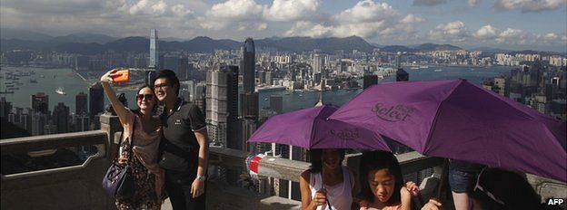 Chinese tourists in Hong Kong