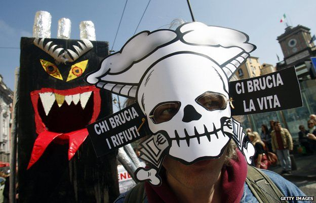 A 2011 protest against the long running rubbish crisis in Naples