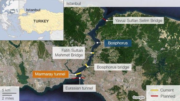 Map showing bridges/ tunnels across Bosphorus Strait