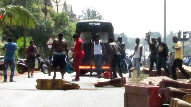 Nigerians protesting in Goa
