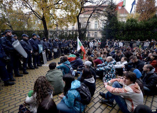 Protesters face police in Sofia, 13 November
