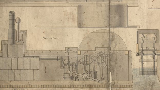 Engineering drawing for the engines for the Ancient Briton - a Bristol and Swansea steam packet dating from 1822