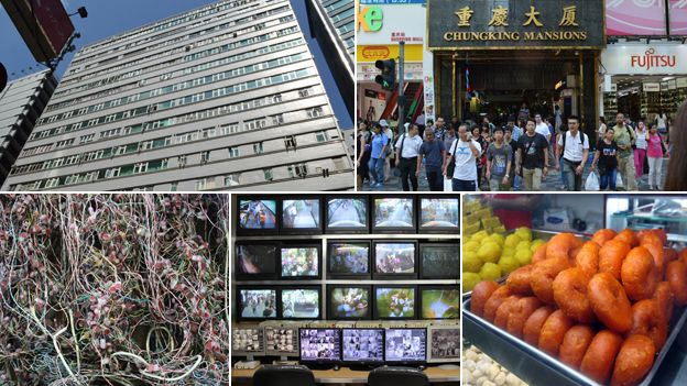 Clockwise from top left: Exterior of Chungking Mansions, Entrance of Chungking Mansions, electric cabling, CCTV screens, Indian snacks