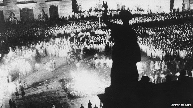 A crowd of 40,000 people watched books by authors not considered to conform to Nazi ideology being burned