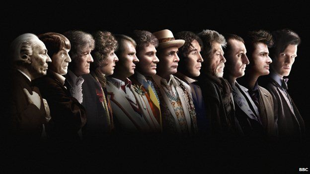 A composite image showing all 13 actors to have played the Doctor