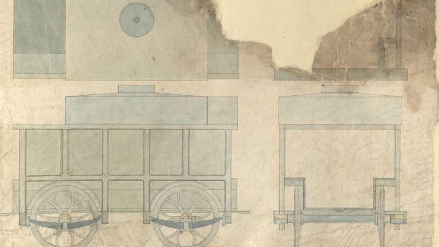 Cynllun ar gyfer trên yng Ngwaith Haearn Nantyglo, 1854