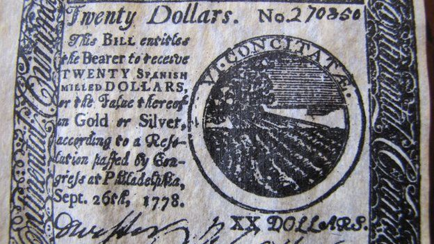 A $20 note from 1778