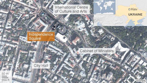 Satellite map of central Kiev.