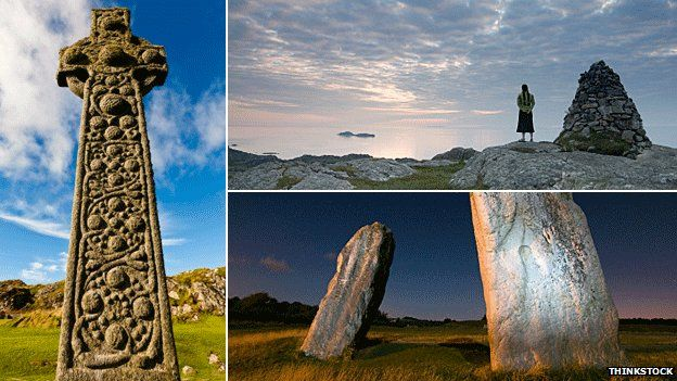A cross on Iona, a woman looking at the sea from Iona and Avebury Stone Circle