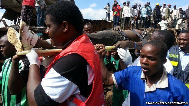 Scene of train crash in Kibera, Nairobi, on 22 December 2013