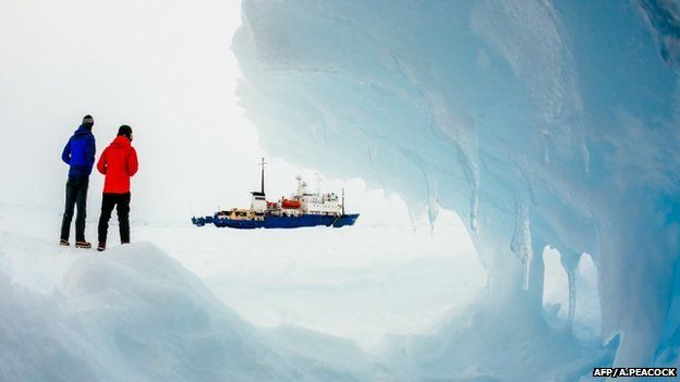 The Akademik Shokalskiy stuck in the ice off East Antarctica, as it waits to be rescued, 30 December 2013