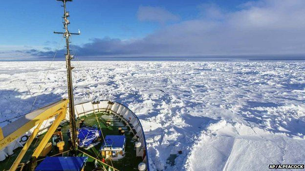 In this image provided by Australasian Antarctic Expedition/Footloose Fotography, Russian ship MV Akademik Shokalskiy is trapped in thick Antarctic ice 1,500 nautical miles south of Hobart, Australia, 27 December 2013
