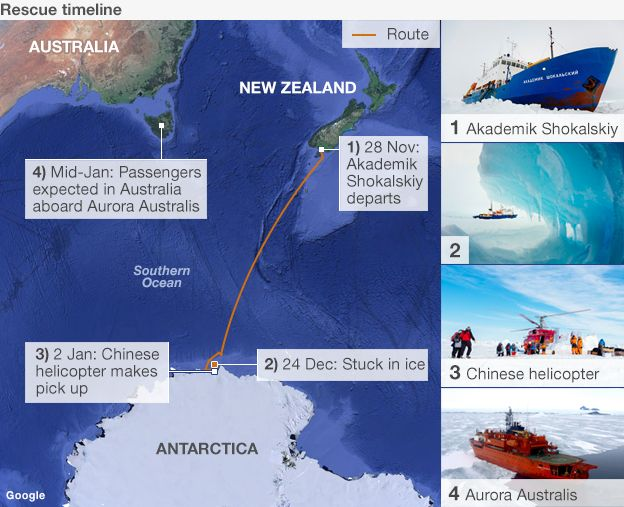 Timeline and map showing the rescue of the passengers from the Akademik Shokalskiy