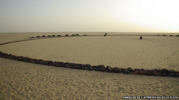 a circle of black stones is laid out in the desert