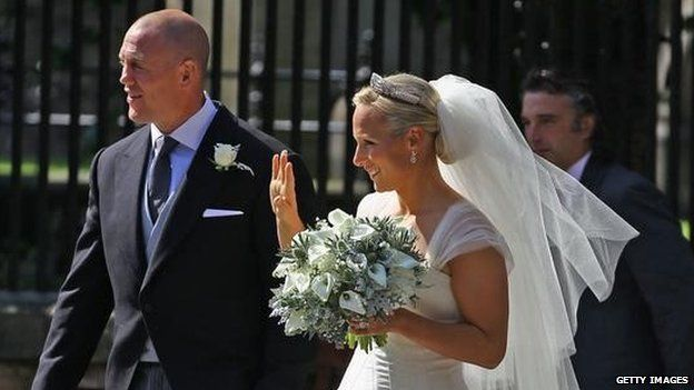 Zara and Mike Tindall after their wedding in Edinburgh