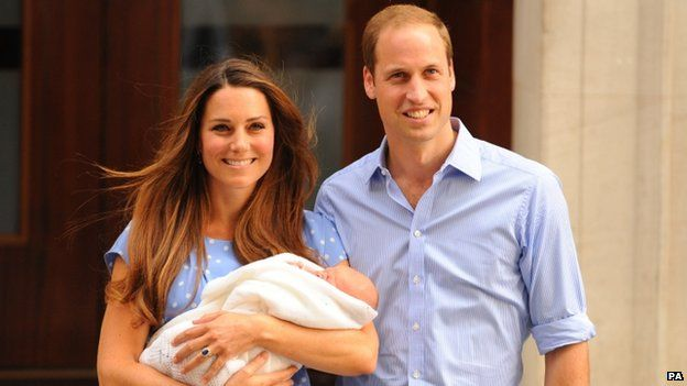 The Duke and Duchess of Cambridge outside hospital after the birth of their son