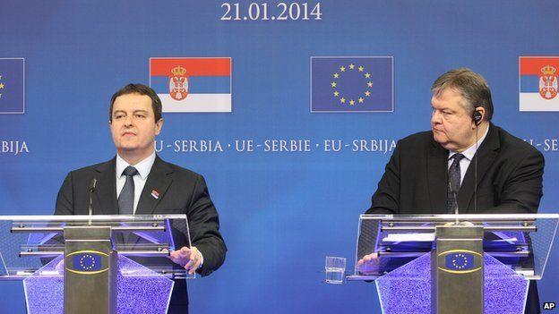 Serbian PM Ivica Dacic (left) speaking in Brussels, 21 Jan 14