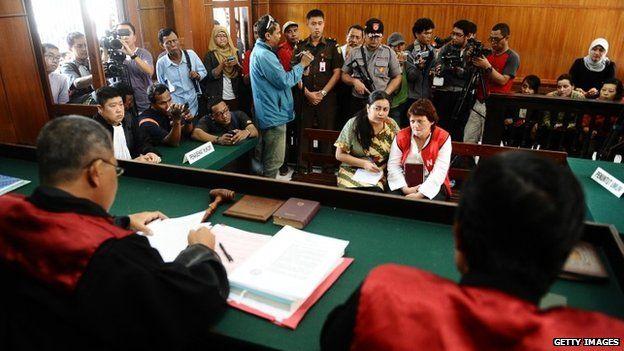 Andrea Waldeck attends court sentencing in Surabaya, Indonesia