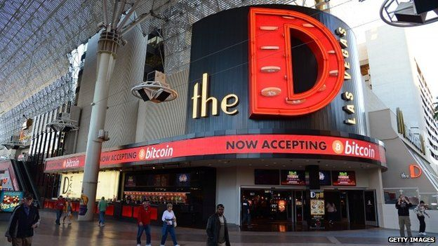 An LED sign outside the D Las Vegas advertises that the property now accepts Bitcoin