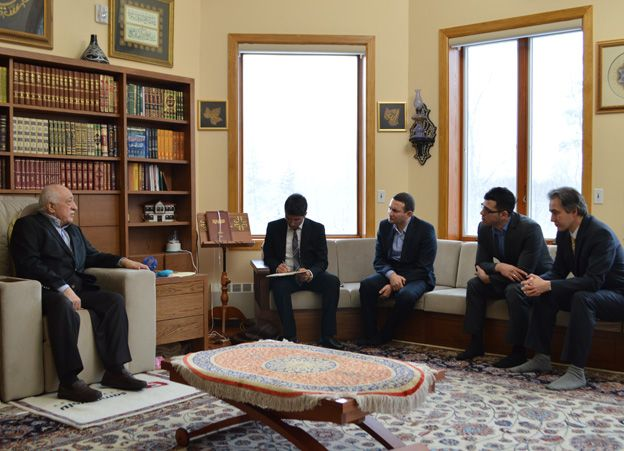 Fethullah Gulen being interviewed by BBC Turkish reporter Guney Yildiz
