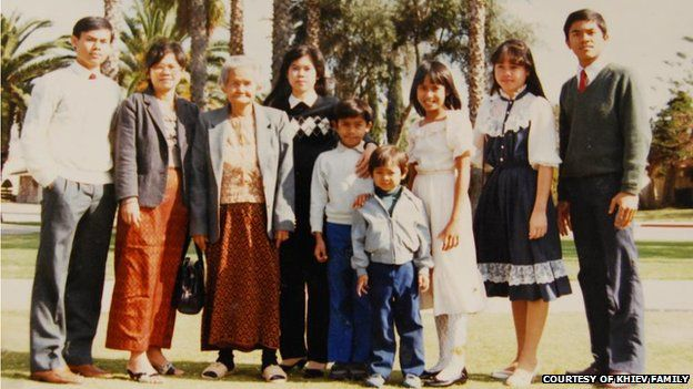 Kosal Khiev (fourth from right) with his family in the United States