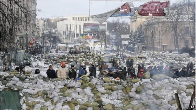 Protesters on barricade in Kiev on 29 Jan 2014