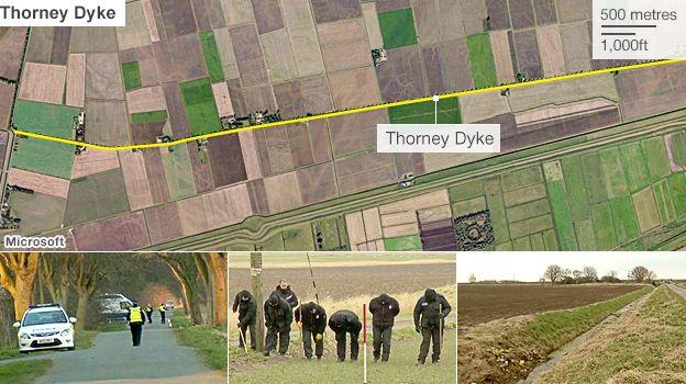 Satellite image of Thorney Dyke where the bodies of Lukasz Slaboszewski and John Chapman were found in April 2013