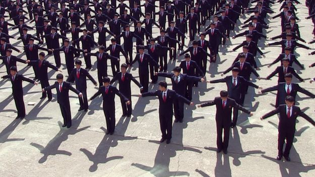North Korea university parade ground workout