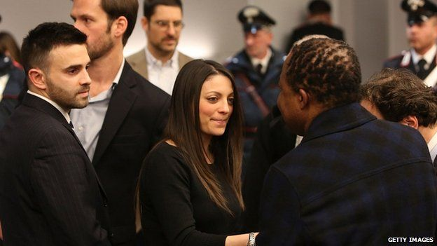 Meredith Kercher's brother and sister, Lyle and Stephanie, in court. 30 Jan 2014