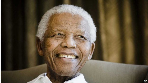 Former South African President Nelson Mandela at the Mandela foundation in Johannesburg, during a meeting with a group of American and South African students, as part of a series of activities leading to Mandela Day in July 2009.
