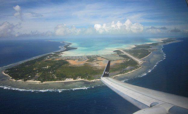 South Tarawa from plane