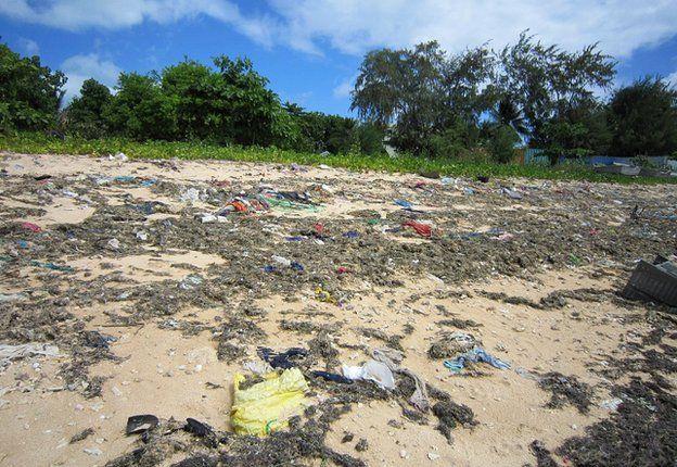 Beach strewn with rubbish