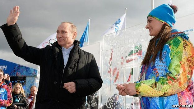 Russian President Vladimir Putin visits the Coastal Cluster Olympic Village in Sochi, Russia, ahead of the Winter Olympics on Wednesday