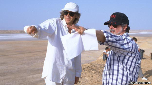 Roger Christian, left, with George Lucas