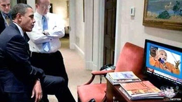 Doctored image of President Obama listening to Indian politician Narendra Modi