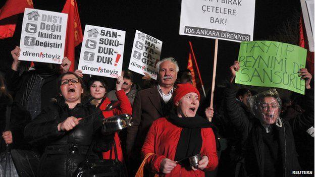 A demonstration in Ankara in January against Turkey's internet bill