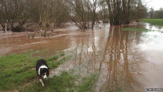 Flooded field in Abergavenny