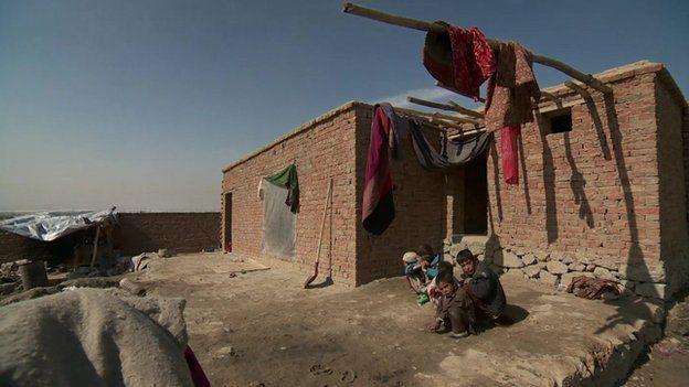 Children in the Kuchi community on a hillside east of the Afghan capital Kabul