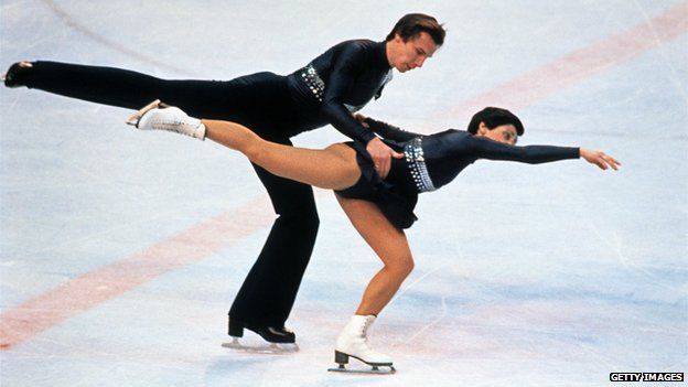 Irina Rodnina and Alexander Zaitsev from the Soviet Union perform their programme during the pairs figure skating's competition in February 1980 in Lake Placid at the Winter Olympic Games
