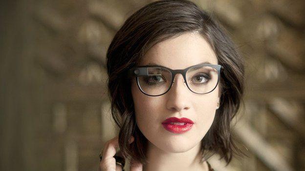 Model wearing Google Glass Titanium