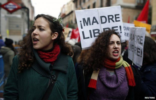 Pro-choice protesters in Madrid, 8 February