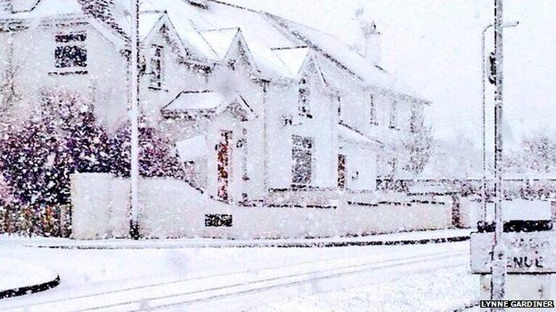 Snow also fell in Portstewart, County Londonderry