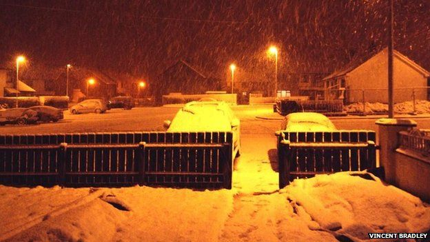 The snow started falling late on Tuesday night in Dungiven, County Londonderry.