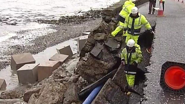 Part of the road between Warrenpoint and Rostrevor in County Down has collapsed
