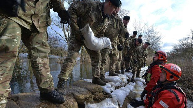 Soldiers piling up sandbags