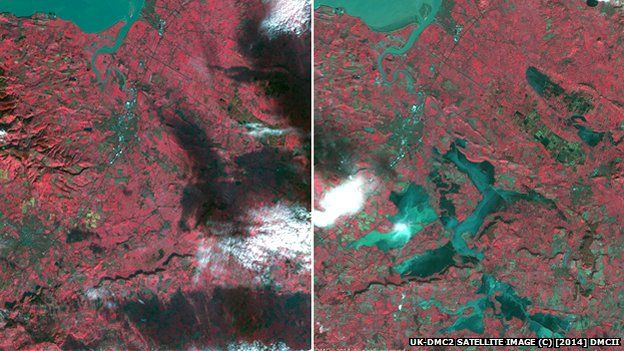 A UK Space Agency picture made up of two satellite images showing flooding in Somerset
