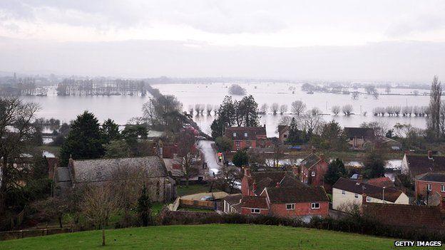 Flooded around the village of Burrowbridge